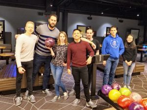 Bowling in the evening! (From left: Michal, Miloš, Jelena, Jude Anthony, Luca, Adrián, Anh)