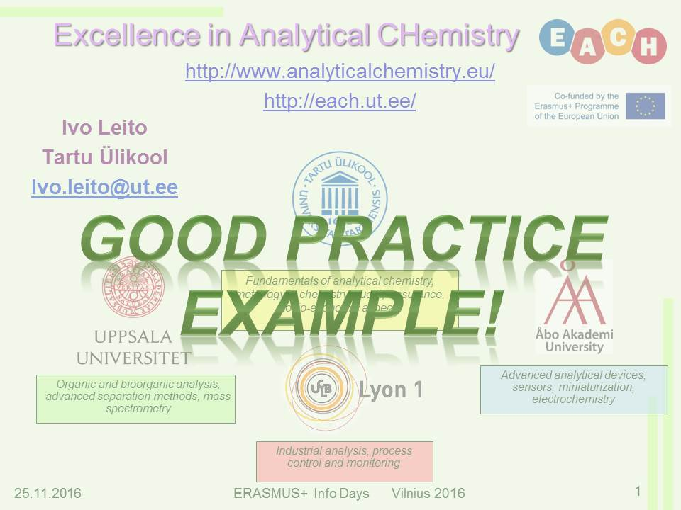 EACH Programme A Good Practice Example Chair Of Analytical